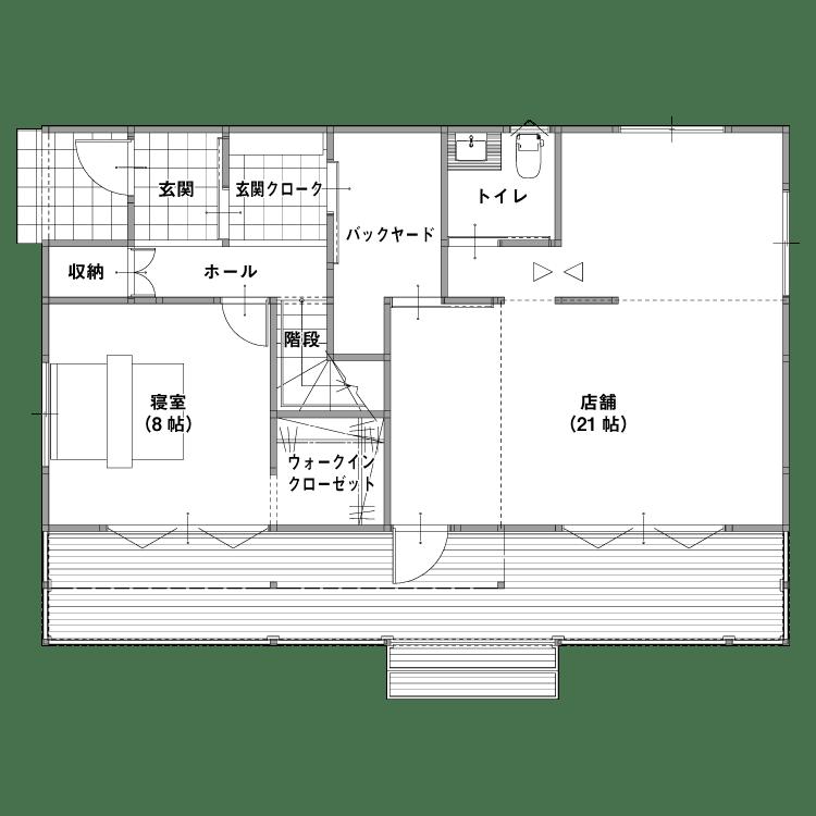 店舗併設型住宅(燕市・三条市)の参考プラン 1F