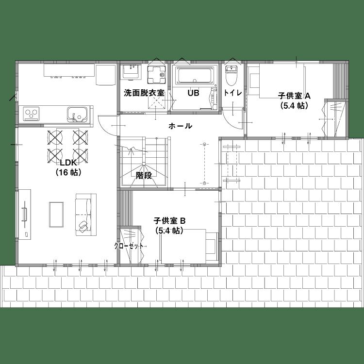 店舗併設型住宅(燕市・三条市)の参考プラン 2F