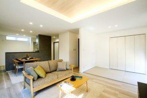 折り上げ天井×間接照明で魅せるLDKの家 ハーバーハウス燕三条支店